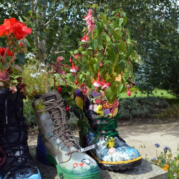 boot with bees and fushcia