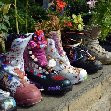 upcycled boots flowers wide